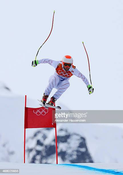 Travis Ganong of the United States skis during the Alpine Skiing Men's Downhill at Rosa Khutor Alpine Center on February 9 2014 in Sochi Russia