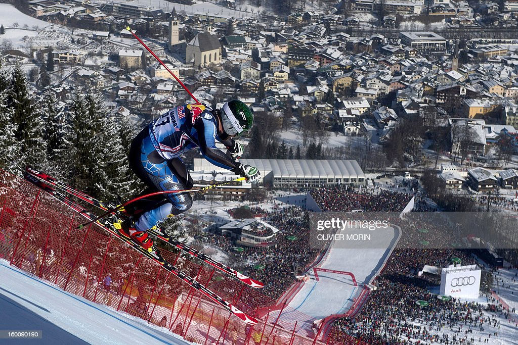 Travis Ganong of the US competes during the men's World Cup Downhill, on January 26, 2013 in Kitzbuehel, Austrian Alps. Italy's Dominik Paris won the race ahead Canda's Erik Guay and Austria's Hannes Reichelt .