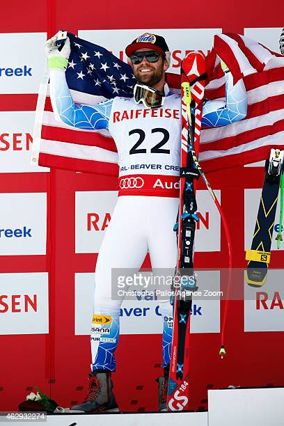 Travis Ganong of the USA celebrates after winning the silver medal during the FIS Alpine World Ski Championships Men's Downhill on February 07 2015...