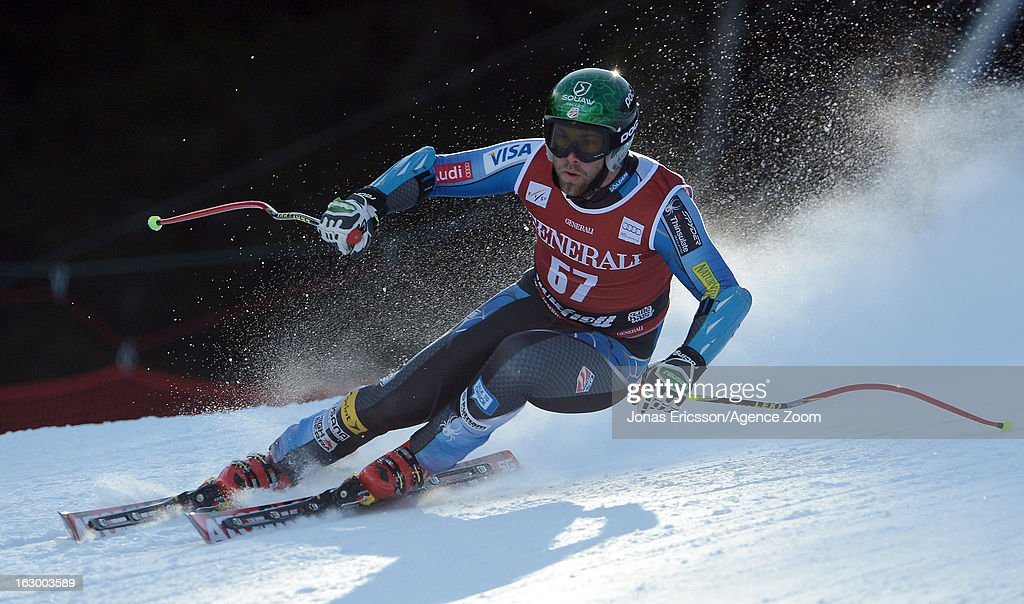 Travis Ganong of the USA competes during the Audi FIS Alpine Ski World Cup Men's SuperG on March 3, 2013 in Kvitfjell, Norway.