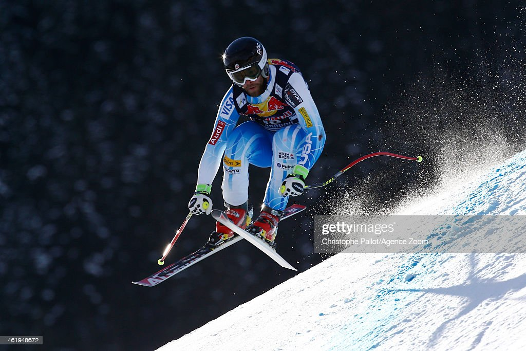 Travis Ganong of the USA competes during the Audi FIS Alpine Ski World Cup Men's Downhill Training on January 22 2015 in Kitzbuehel Austria