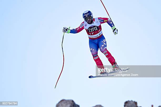 Travis Ganong of the USA competes during the Audi FIS Alpine Ski World Cup Men's Downhill on December 29 2015 in Santa Caterina Valfurva Italy