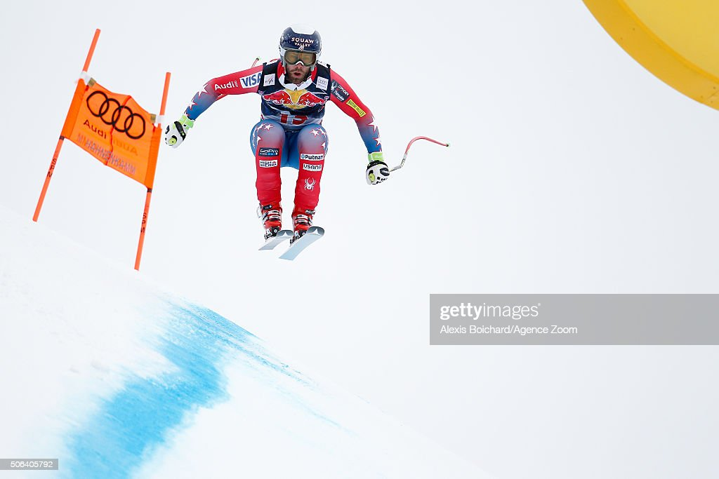 Travis Ganong of the USA competes during the Audi FIS Alpine Ski World Cup Men's Downhill on January 23 2016 in Kitzbuehel Austria