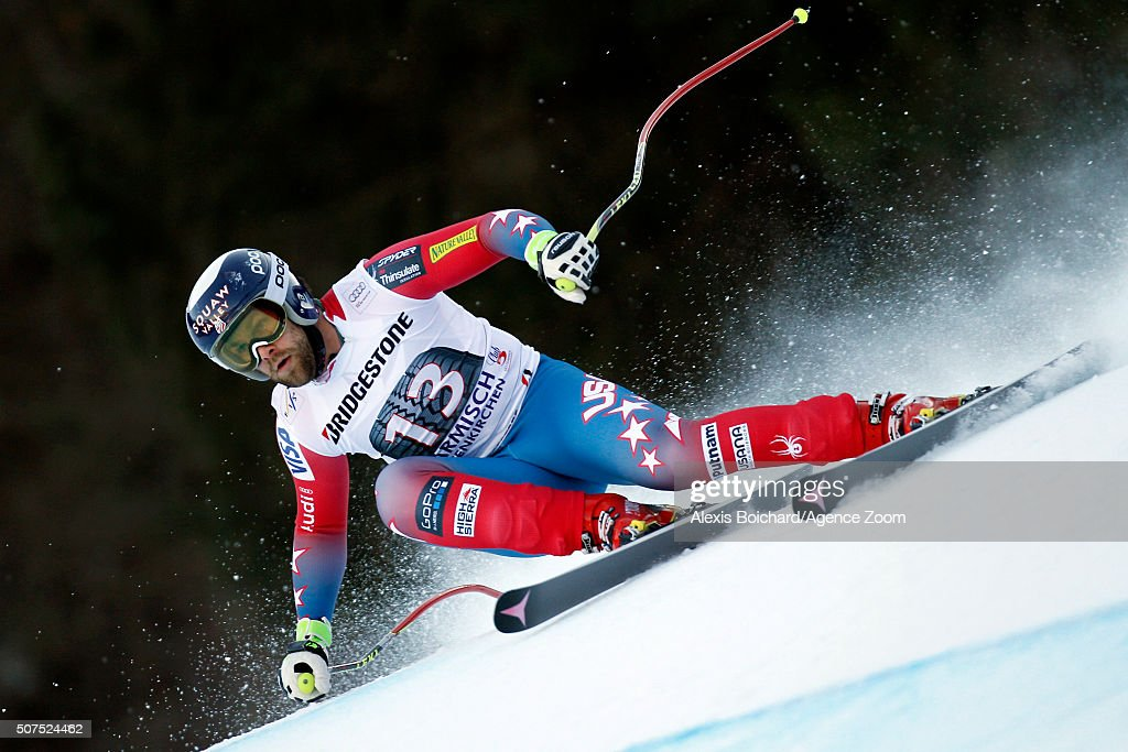 <a gi-track='captionPersonalityLinkClicked' href=/galleries/search?phrase=Travis+Ganong&family=editorial&specificpeople=6176023 ng-click='$event.stopPropagation()'>Travis Ganong</a> of the USA competes during the Audi FIS Alpine Ski World Cup Men's Downhill on January 30, 2016 in Garmisch-Partenkirchen, Germany.