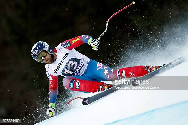 Travis Ganong of the USA competes during the Audi FIS Alpine Ski World Cup Men's Downhill on January 30 2016 in GarmischPartenkirchen Germany