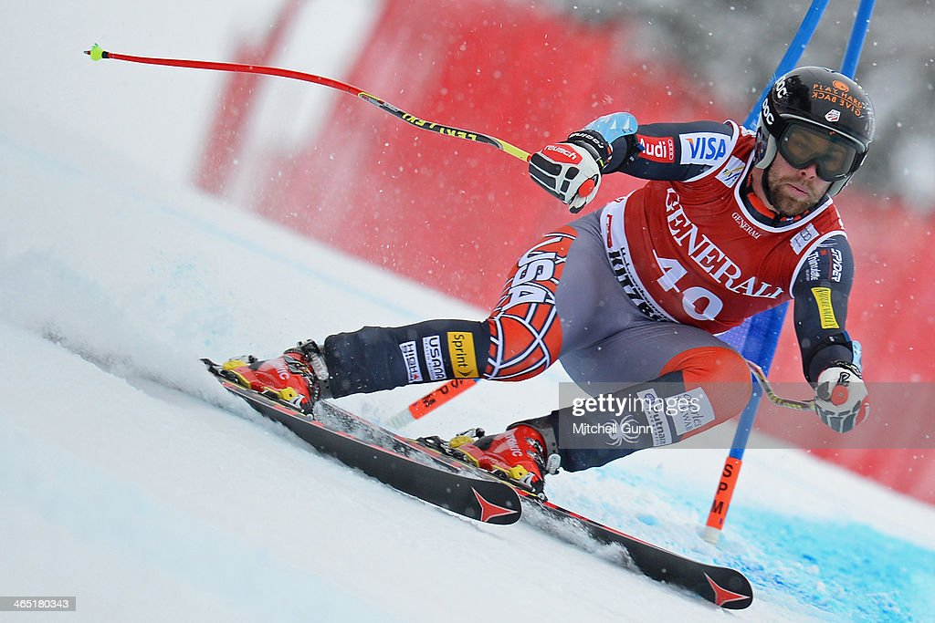 Travis Ganong of The USA competes in the Super G stage on the Hahnenkamm Course during the Audi FIS Alpine Ski World Cup Super Combined race on January 26, 2013 in Kitzbuhel, Austria.
