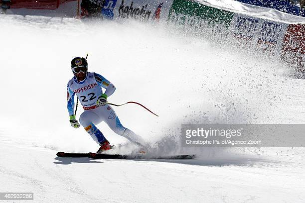 Travis Ganong of the USA finishes his run to win the silver medal during the FIS Alpine World Ski Championships Men's Downhill on February 07 2015 in...