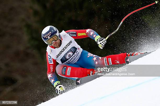 Travis Ganong of the USA in action during the Audi FIS Alpine Ski World Cup Men's Downhill Training on January 28 2016 in GarmischPartenkirchen...