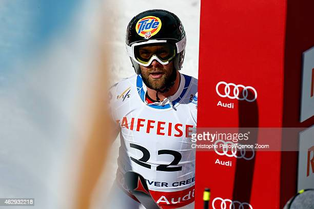 Travis Ganong of the USA reacts after winning the silver medal during the FIS Alpine World Ski Championships Men's Downhill on February 07 2015 in...