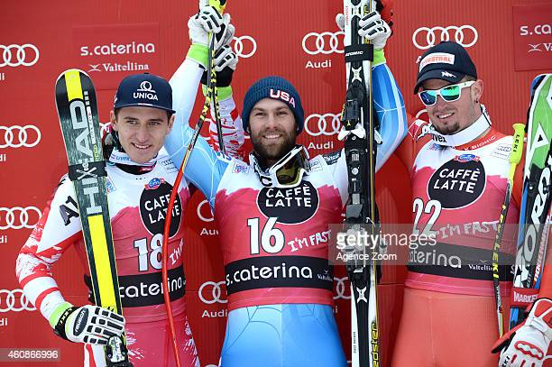 Travis Ganong of the USA takes the 1st place Matthias Mayer of Austria takes 2nd place Dominik Paris of Italy takes 3rd place during the Audi FIS...