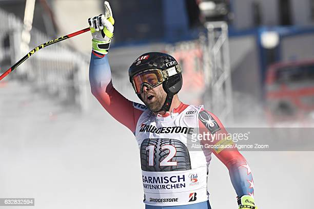 Travis Ganong of USA celebrates during the Audi FIS Alpine Ski World Cup Men's Downhill on January 27 2017 in GarmischPartenkirchen Germany
