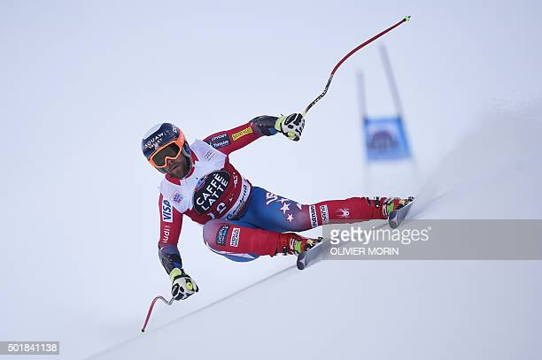 Travis Ganong of USA competes in the FIS Alpine Skiing World Cup Men's Super G on December 18 2015 in Val Gardena northern Italy AFP PHOTO / OLIVIER...