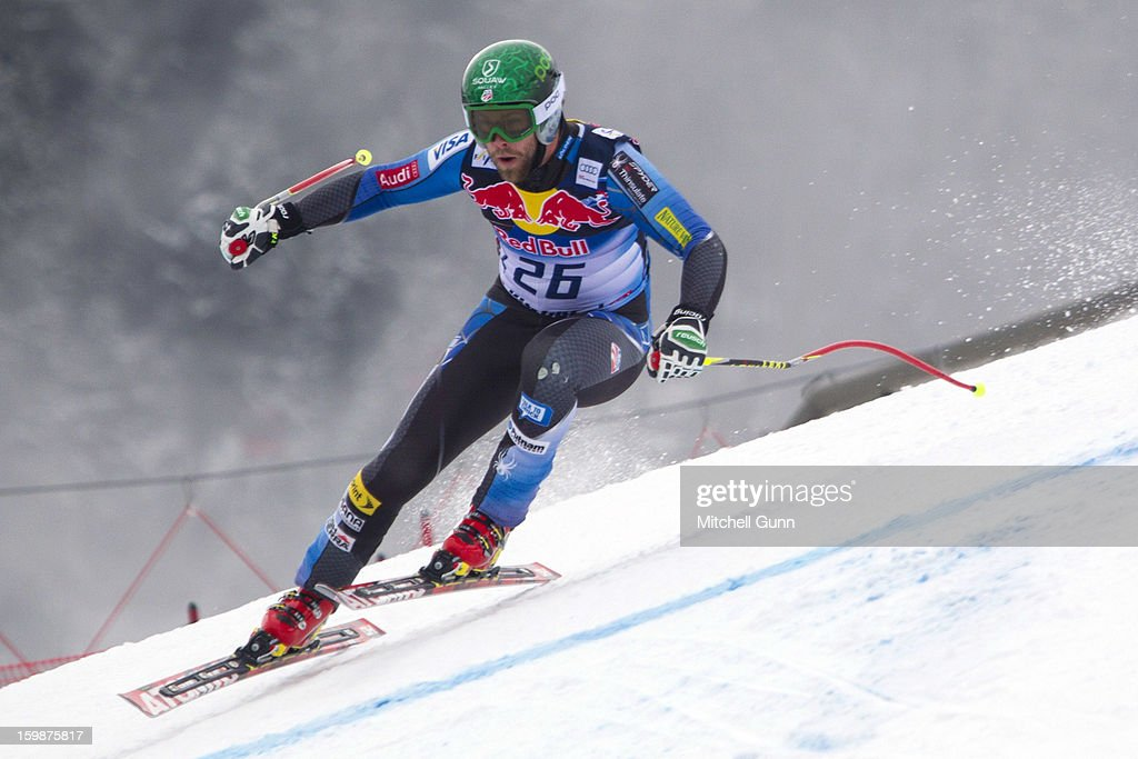 Travis Ganong of USA races down the Hahnenkamm Race Course during the Audi FIS Alpine Ski World Cup Downhill first official training session on January 22, 2013 in Kitzbuhel, Austria,
