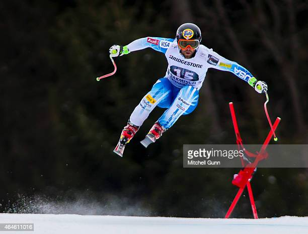 Travis Ganong of USA races down the Kandahar course during the Audi FIS Alpine Ski World Cup Downhill training on February 27 2015 in...