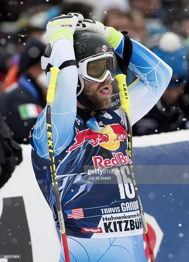 <a gi-track='captionPersonalityLinkClicked' href=/galleries/search?phrase=Travis+Ganong&family=editorial&specificpeople=6176023 ng-click='$event.stopPropagation()'>Travis Ganong</a> of USA reacts in the finish during the men's downhill of the FIS Alpine Skiing World Cup in Kitzbuehel, Austria, on January 24, 2015. Norway's Kjetil Jansrud won ahead of the second Italy's Dominik Paris and third placed Guillermo Fayed of France.