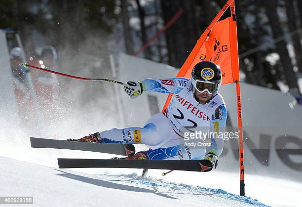 Travis Ganong USA rounds a gate during the downhill race at the FIS Alpine World Ski Championships at Beaver Creek Resort February 07 2015 Ganong...