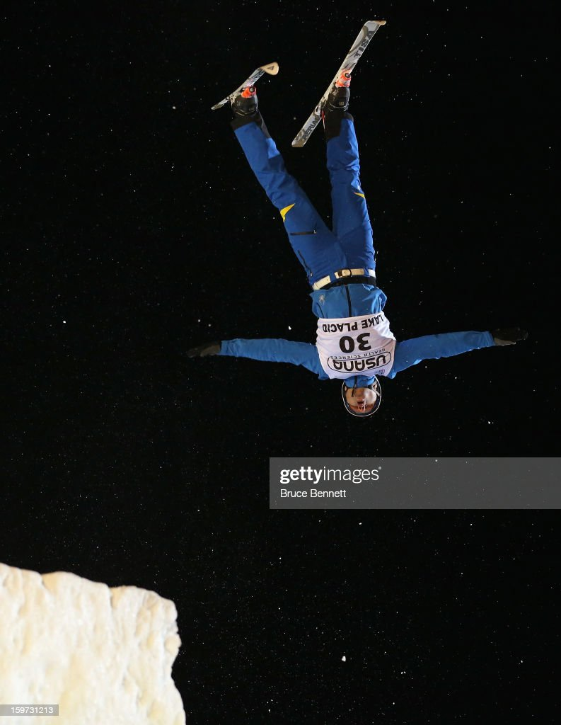 Travis Gerrits #5 of Canada jumps in the qualification round at the USANA Freestyle World Cup aerial competition at the Lake Placid Olympic Jumping Complex on January 19, 2013 in Lake Placid, New York.