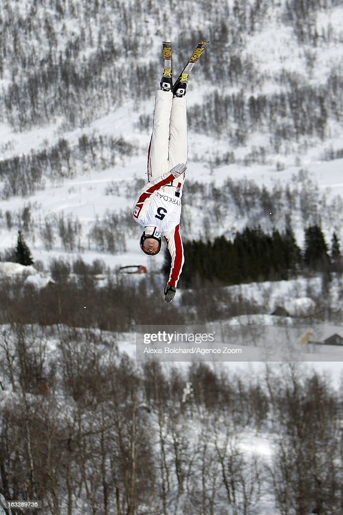 Travis Gerrits of Canada takes second place during the FIS Freestyle Ski World Championship Men's and Women's Aerials on March 07, 2013 in Voss, Norway.