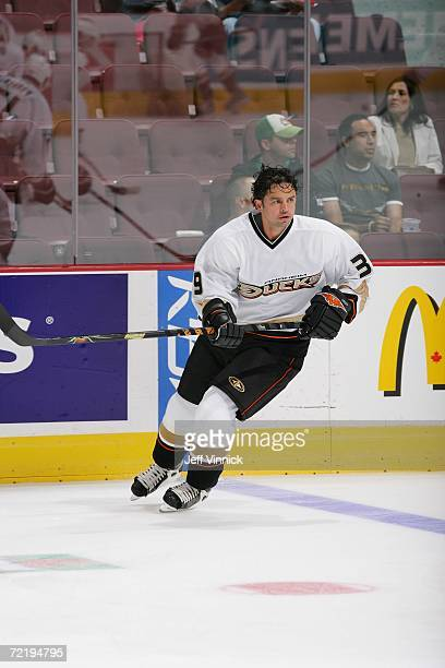 Travis Green of the Anaheim Ducks skates against the Vancouver Canucks during their preseason game at General Motors Place on September 24 2006 in...