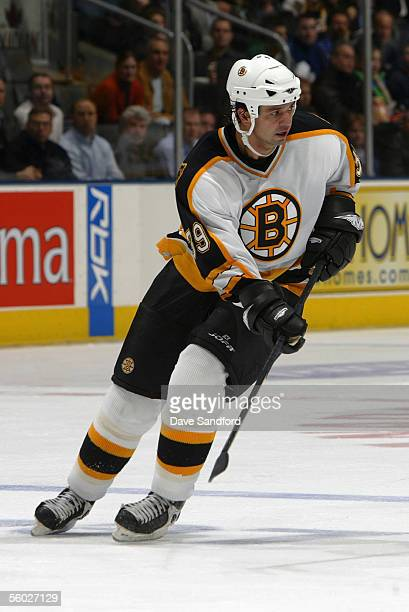 Travis Green of the Boston Bruins skates against the Toronto Maple Leafs during a game at the Air Canada Centre October 24 2005 in Toronto Ontario...