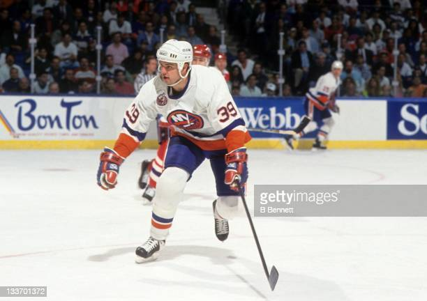 Travis Green of the New York Islanders skates on the ice during a 1993 Division Semi Finals game against the Washington Capitals in April 1993 at the...