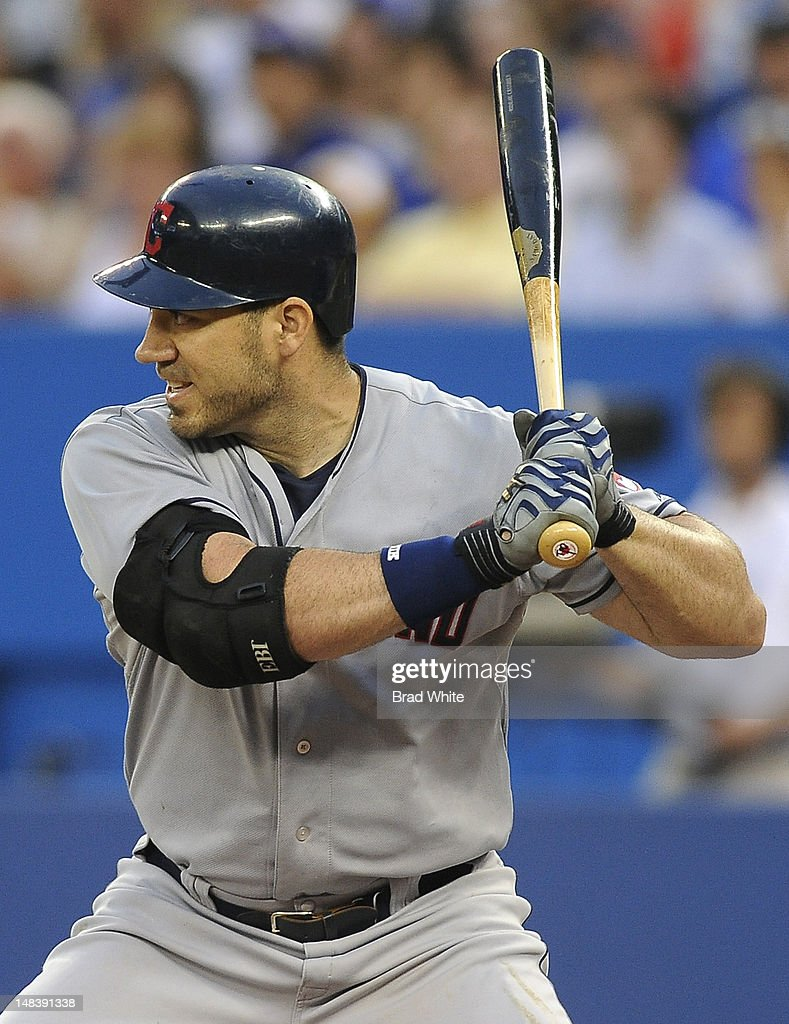 Travis Hafner #48 of the Cleveland Indians bats during MLB game action against the Toronto Blue Jays July 13, 2012 at Rogers Centre in Toronto, Ontario, Canada.