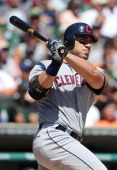 Travis Hafner of the Cleveland Indians bats during the game against the Detroit Tigers at Comerica Park on August 5 2012 in Detroit Michigan The...