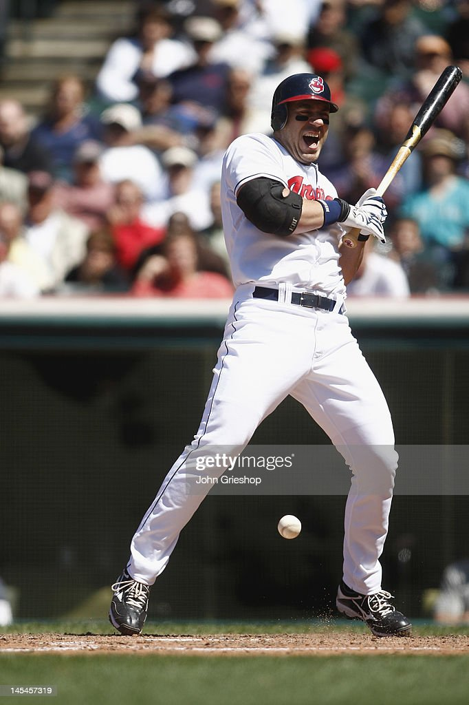 Travis Hafner #48 of the Cleveland Indians connects with the pitch during the game against the Seattle Mariners at Progressive Field on May 17, 2012 in Cleveland, Ohio. The Indians defeated the Mariners 6-5.