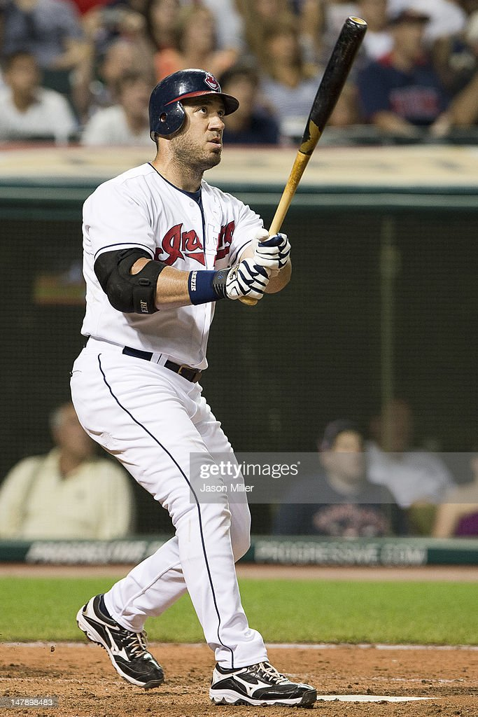 Travis Hafner #48 of the Cleveland Indians hits a solo home run during the eighth inning against the Tampa Bay Rays at Progressive Field on July 5, 2012 in Cleveland, Ohio. The Indians defeated the Rays 3-1.