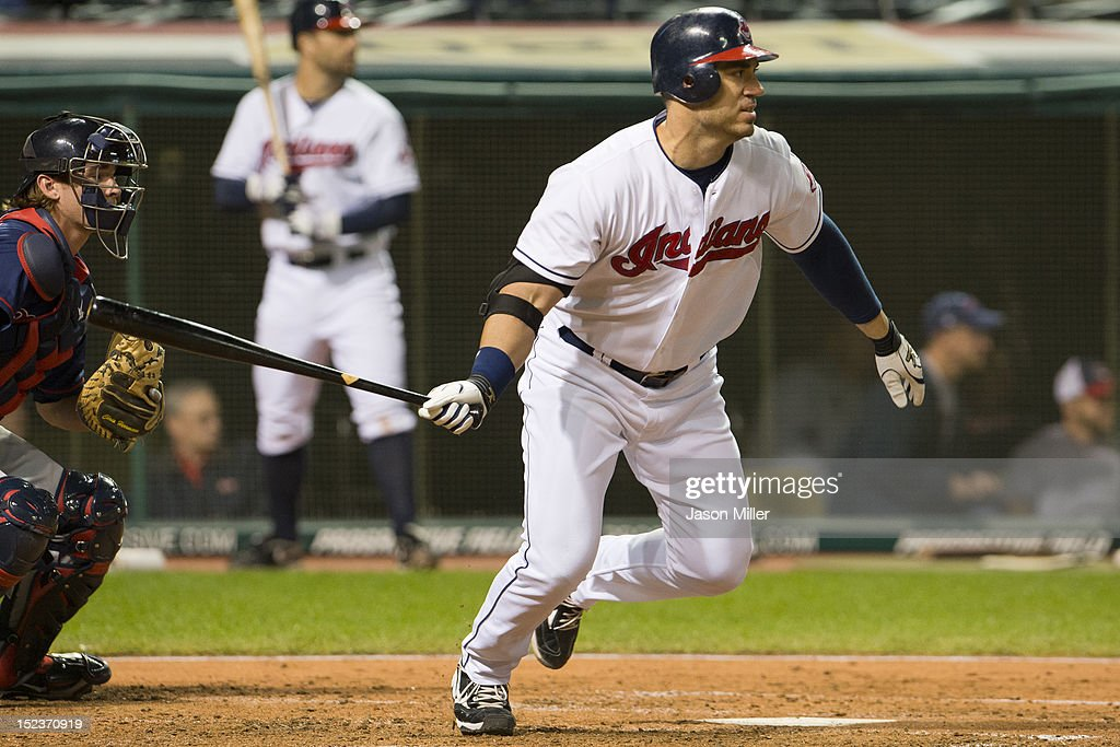 Travis Hafner #48 of the Cleveland Indians reaches first on an error during the fourth inning against the Minnesota Twins at Progressive Field on September 19, 2012 in Cleveland, Ohio.