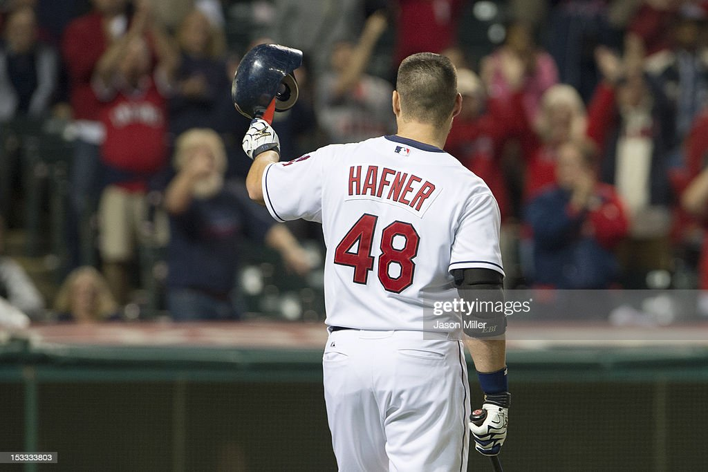 <a gi-track='captionPersonalityLinkClicked' href=/galleries/search?phrase=Travis+Hafner&family=editorial&specificpeople=220556 ng-click='$event.stopPropagation()'>Travis Hafner</a> #48 of the Cleveland Indians waves to the fans before his last at-bat during the ninth inning against the Chicago White Sox at Progressive Field on October 3, 2012 in Cleveland, Ohio. The White Sox defeated the Indians 9-0.