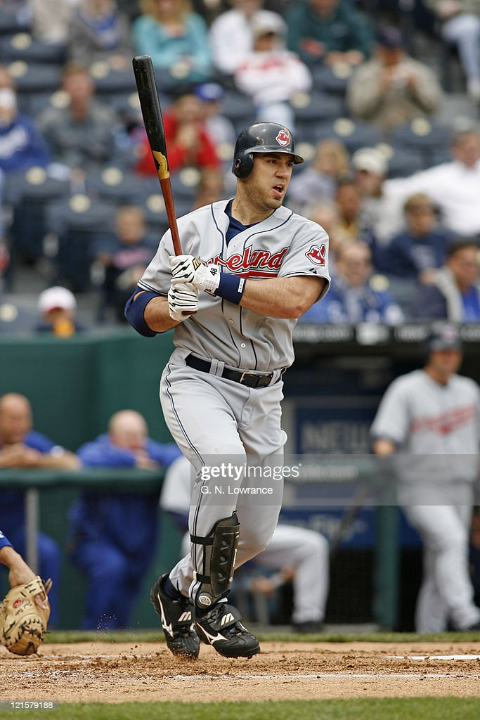 Travis Hafner of the Indians at the plate during action between the Cleveland Indians and Kansas City Royals at Kauffman Stadium in Kansas City, Missouri on May 10, 2006.