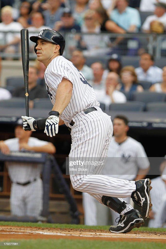 Travis Hafner of the New York Yankees bats against the Kansas City Royals at Yankee Stadium on July 8 2013 in the Bronx borough of New York City...