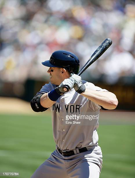 Travis Hafner of the New York Yankees bats against the Oakland Athletics at Oco Coliseum on June 13 2013 in Oakland California