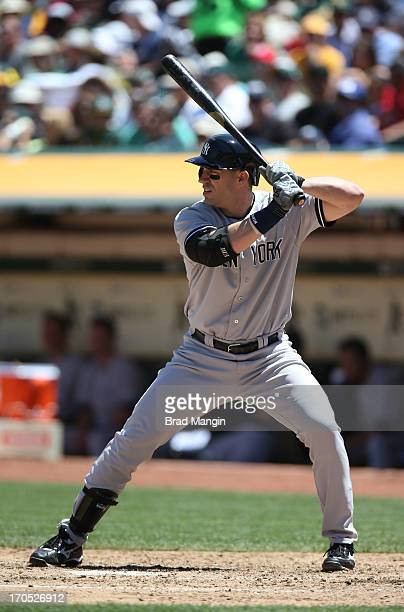 Travis Hafner of the New York Yankees bats against the Oakland Athletics during the game at Oco Coliseum on Thursday June 13 2013 in Oakland...