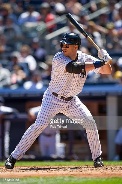 Travis Hafner of the New York Yankees bats during the game against the Oakland Athletics at Yankee Stadium on May 4 2013 in the Bronx borough of...