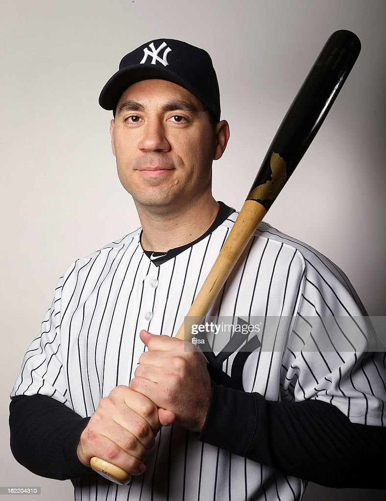 <a gi-track='captionPersonalityLinkClicked' href=/galleries/search?phrase=Travis+Hafner&family=editorial&specificpeople=220556 ng-click='$event.stopPropagation()'>Travis Hafner</a> #33 of the New York Yankees poses for a portrait on February 20, 2013 at George Steinbrenner Stadium in Tampa, Florida.