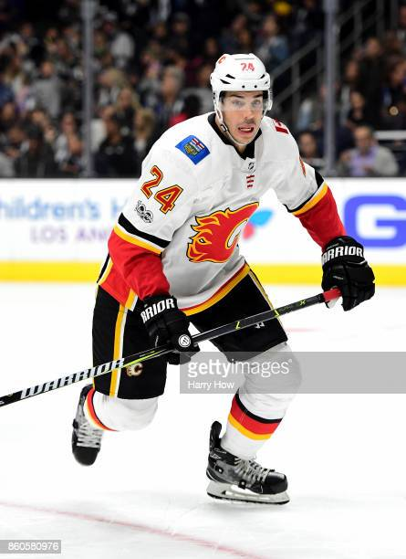 Travis Hamonic of the Calgary Flames skates against the Los Angeles Kings at Staples Center on October 11 2017 in Los Angeles California