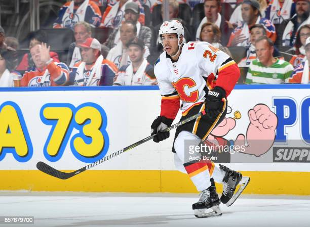 Travis Hamonic of the Calgary Flames skates during the game against the Edmonton Oilers on October 4 2017 at Rogers Place in Edmonton Alberta Canada