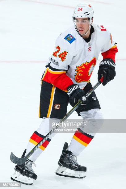 Travis Hamonic of the Calgary Flames skates during the game against the Anaheim Ducks on October 9 2017 at Honda Center in Anaheim California
