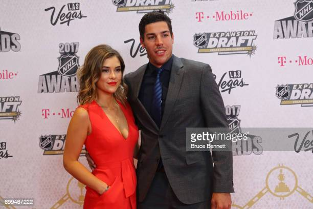 Travis Hamonic of the New York Islanders and Stephanie Sabourin attend the 2017 NHL Awards at TMobile Arena on June 21 2017 in Las Vegas Nevada
