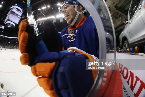 Travis Hamonic of the New York Islanders hits the glass during the game against the New York Islanders at the Barclays Center on March 25 2017 in the...