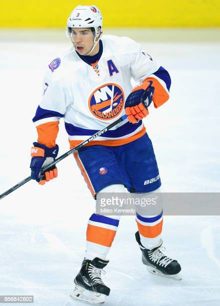 Travis Hamonic of the New York Islanders plays in the game against the Philadelphia Flyers at Wells Fargo Center on April 7 2015 in Philadelphia...