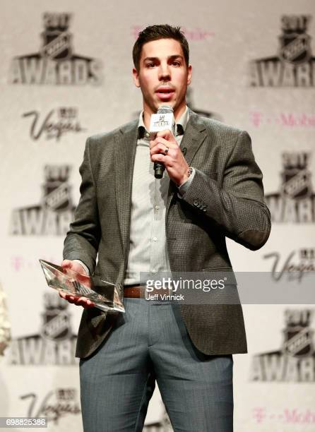 Travis Hamonic of the New York Islanders speaks onstage after accepting the NHL Foundation Player Award during the 2017 NHL Humanitarian Awards on...