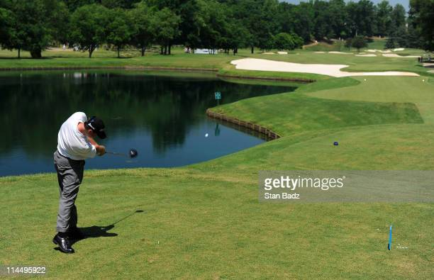 Travis Hampshire hits a drive from the fifth tee box during the final round of the BMW Charity ProAm presented by SYNNEX Corporation at the...