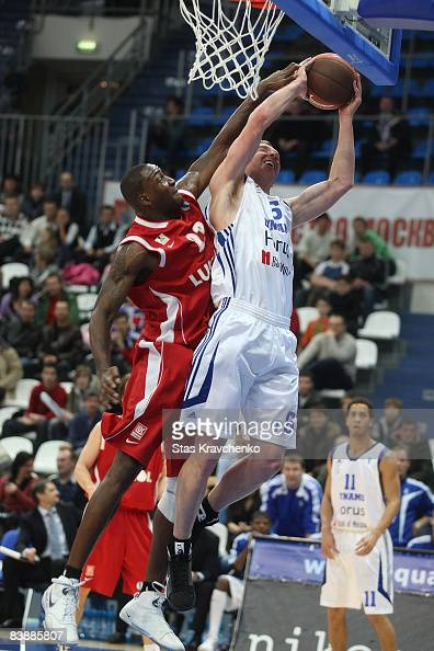 Travis Hansen #6 of Dynamo Moscow competes with Kenny Adeleke #23 of Lukoil Academic during the Eurocup Basketball Game 2 match between Dynamo Moscow...
