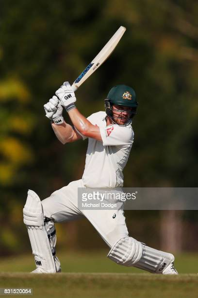 Travis Head bats during day two of the Australian Test cricket intersquad match at Marrara Cricket Ground on August 15 2017 in Darwin Australia
