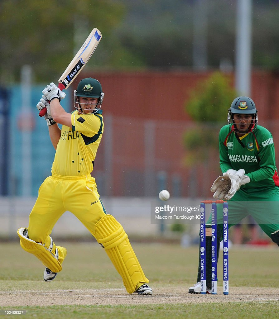 Travis Head bats during the ICC U19 Cricket World Cup 2012 Quarter Final match between Australia and Bangladesh at Endeavour Park on August 19, 2012 in Townsville, Australia.