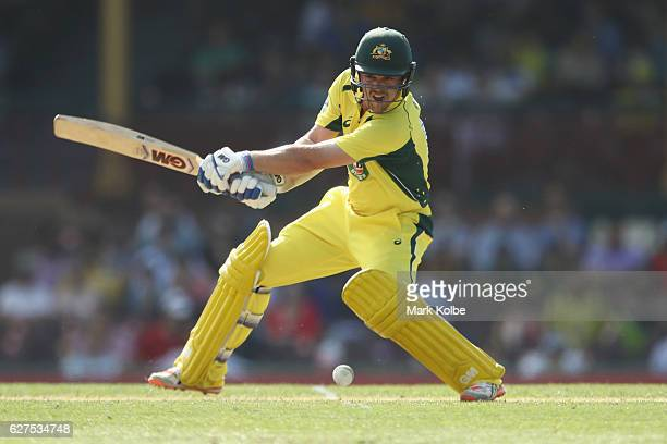 Travis Head of Australia bats during game one of the One Day International series between Australia and New Zealand at Sydney Cricket Ground on...