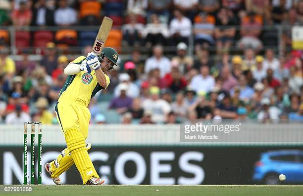 Travis Head of Australia bats during game two of the One Day International series between Australia and New Zealand at Manuka Oval on December 6 2016...